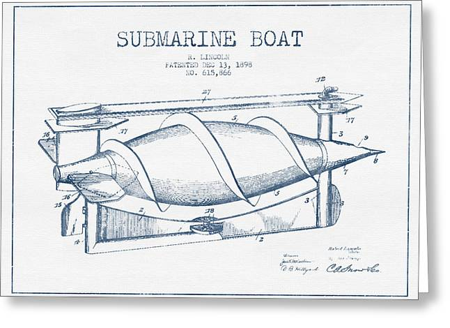 Submarines Greeting Cards - Submarine Boat patent from 1898 - Blue Ink Greeting Card by Aged Pixel