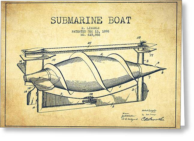Submarine Greeting Cards - Submarine Boat patent from 1898 - Vintage Greeting Card by Aged Pixel