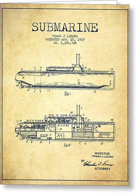 Submarine Greeting Cards - Submarine patent from 1919 - Vintage Greeting Card by Aged Pixel