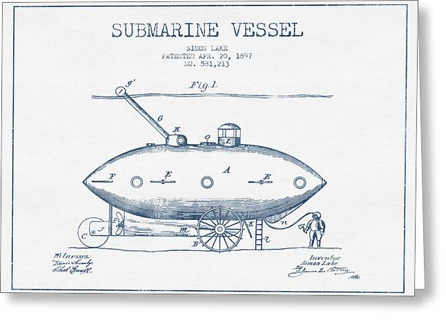 Submarine Greeting Cards - Submarine Vessel patent from 1897 - Blue Ink Greeting Card by Aged Pixel