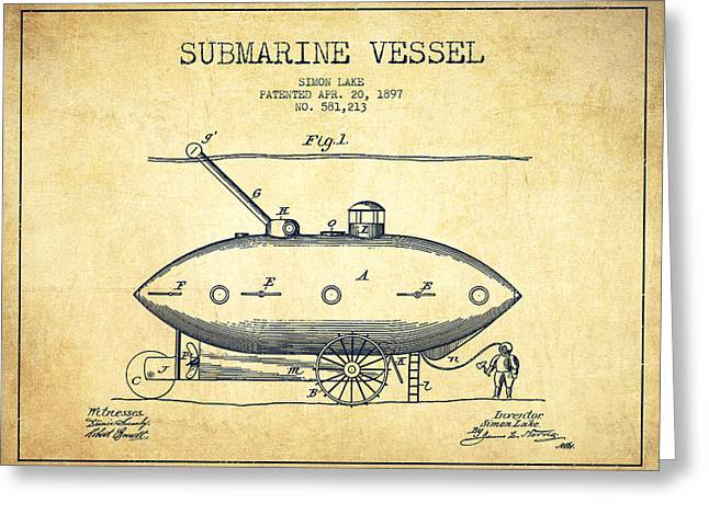 Submarine Greeting Cards - Submarine Vessel patent from 1897 - Vintage Greeting Card by Aged Pixel