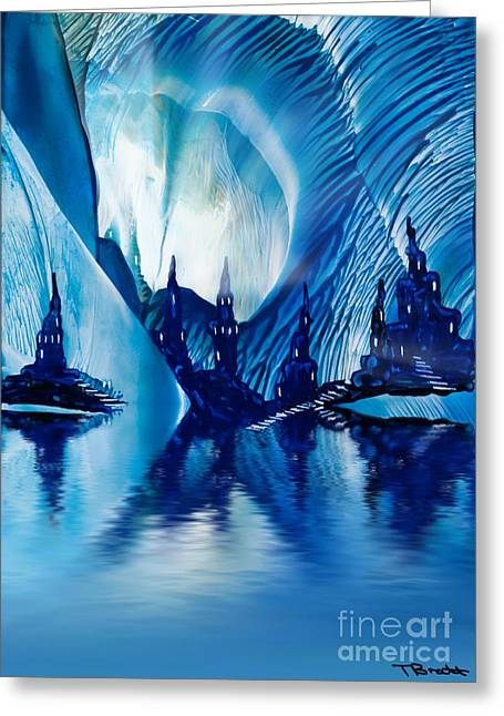 Subterranean Greeting Cards - Subterranean Castles wax painting in blue Greeting Card by Simon Bratt Photography LRPS