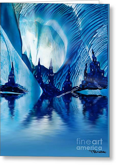 Encaustic Greeting Cards - Subterranean Castles wax painting in blue Greeting Card by Simon Bratt Photography LRPS