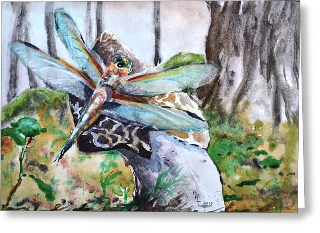 Forest Floor Paintings Greeting Cards - Subtle Shimmer Greeting Card by Beverley Harper Tinsley