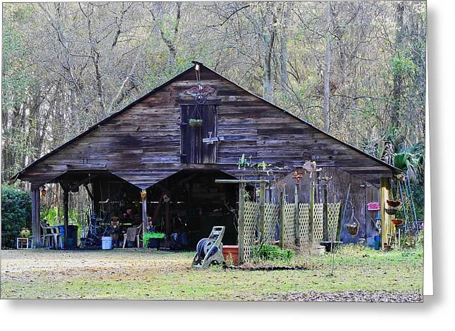 Harvest Time Greeting Cards - Suburban Shed Greeting Card by Laura Ragland
