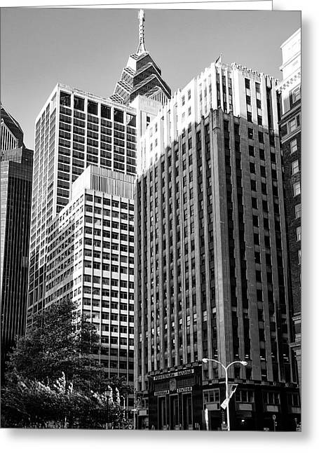 Suburban Digital Art Greeting Cards - Suburban Station Building - Philadelphia in Black and White Greeting Card by Bill Cannon