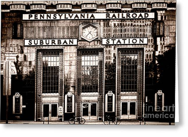 Rails Greeting Cards - Suburban Station Greeting Card by Olivier Le Queinec