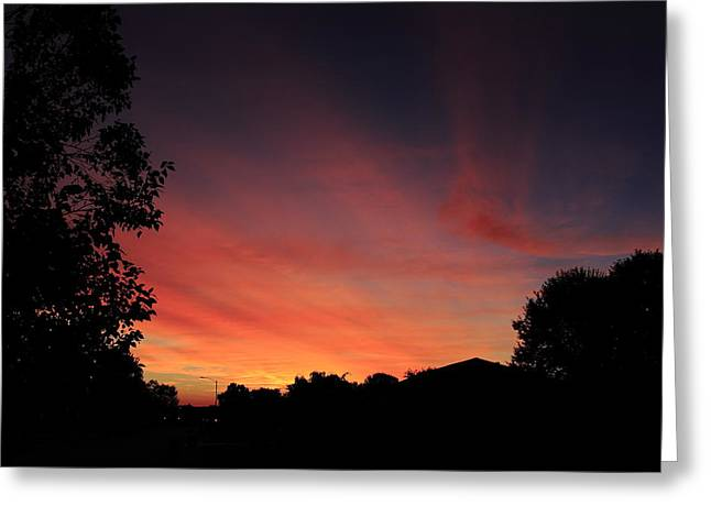 Southern Indiana Autumn Photographs Greeting Cards - Suburban Sunrise Greeting Card by Andrea Kappler