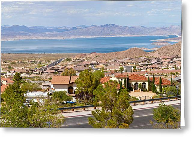 City Buildings Greeting Cards - Suburbs And Lake Mead With Surrounding Greeting Card by Panoramic Images