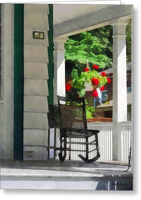 Geranium Greeting Cards - Suburbs - Porch With Rocking Chair and Geraniums Greeting Card by Susan Savad