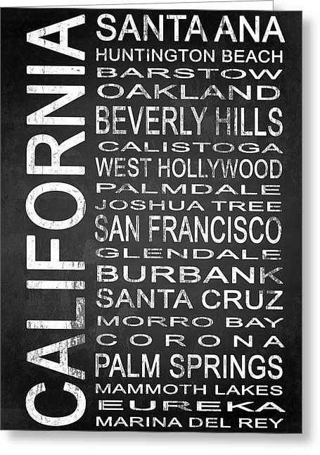 Santa Cruz Mixed Media Greeting Cards - SUBWAY California State 1 Greeting Card by Melissa Smith