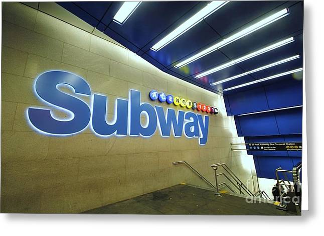Transfer Greeting Cards - Subway Entrance Greeting Card by Allen Beatty