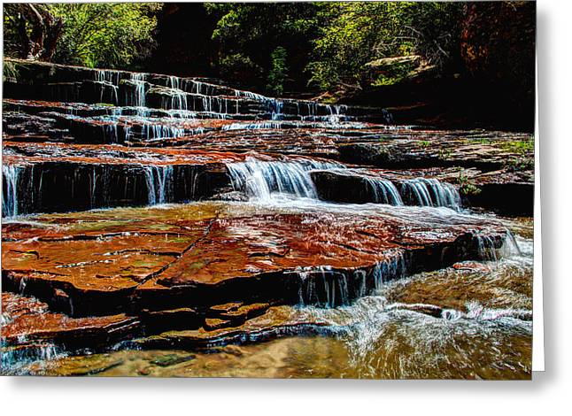 Zion National Park Greeting Cards - Subway Falls Greeting Card by Chad Dutson