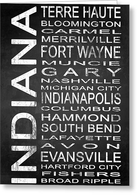Indiana Mixed Media Greeting Cards - SUBWAY Indiana State 1 Greeting Card by Melissa Smith