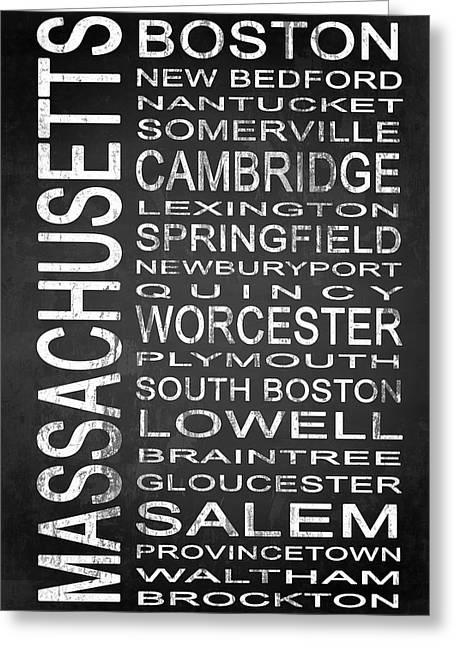 Boston Ma Greeting Cards - SUBWAY Massachusetts State 1 Greeting Card by Melissa Smith