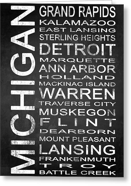 Height Mixed Media Greeting Cards - SUBWAY Michigan State 1 Greeting Card by Melissa Smith