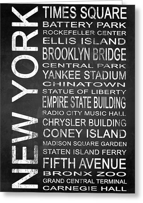 Brooklyn Bridge Mixed Media Greeting Cards - Subway New York 1 Greeting Card by Melissa Smith