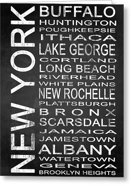 York Beach Greeting Cards - SUBWAY New York State 1 Greeting Card by Melissa Smith