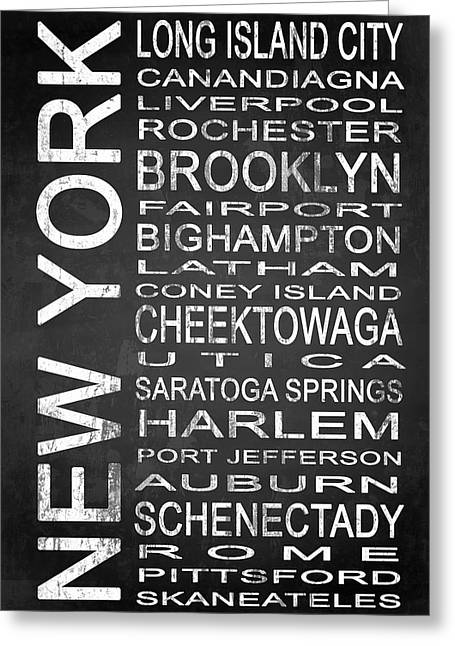 Harlem Mixed Media Greeting Cards - SUBWAY New York State 3 Greeting Card by Melissa Smith