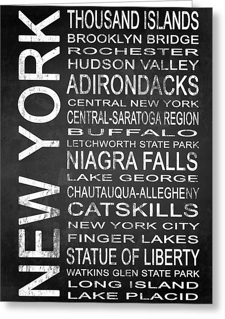 Allegheny Mixed Media Greeting Cards - SUBWAY New York State 4 Greeting Card by Melissa Smith