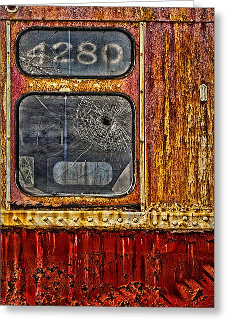 Bullet Holes Greeting Cards - Subway Number 4280 Greeting Card by Susan Candelario