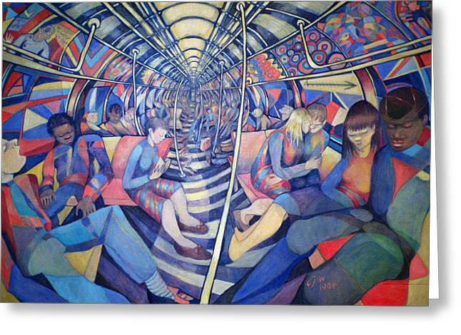 Underground Greeting Cards - Subway Nyc, 1994 Oil On Canvas Greeting Card by Charlotte Johnson Wahl