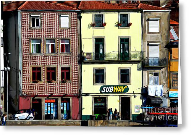 Red Tile Roof Greeting Cards - Subway - Porto Greeting Card by Mary Machare