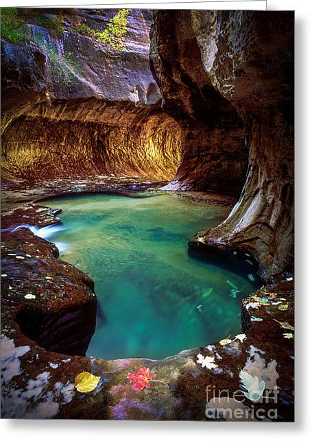 Zion National Park Greeting Cards - Subway Sanctum Greeting Card by Inge Johnsson