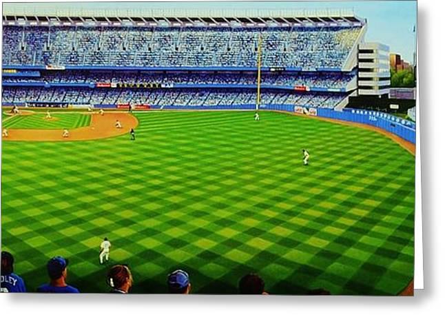 Ny Yankees Baseball Art Greeting Cards - Subway Series ninety eight Greeting Card by Thomas  Kolendra
