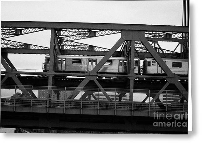 Manhatan Greeting Cards - subway train crossing the Broadway Bridge from Manhattan to the Bronx new york city Greeting Card by Joe Fox