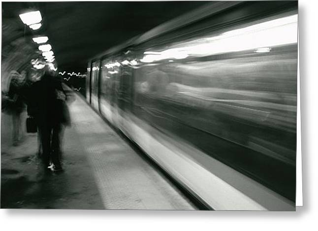 White On Black Greeting Cards - Subway Train Passing Through A Subway Greeting Card by Panoramic Images
