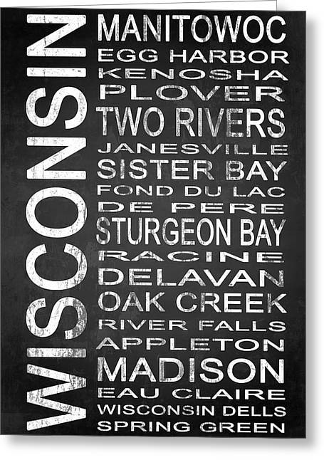 White River Mixed Media Greeting Cards - SUBWAY Wisconsin State 1 Greeting Card by Melissa Smith