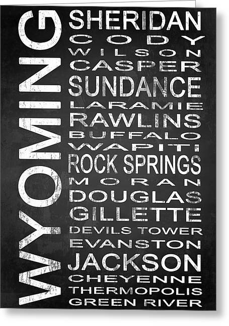 Evanston Greeting Cards - SUBWAY Wyoming State 1 Greeting Card by Melissa Smith