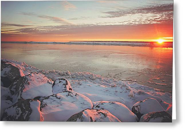 Sunrise. Water Greeting Cards - Subzero Sunrise Greeting Card by Carrie Ann Grippo-Pike