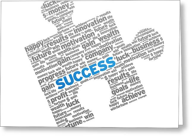 Result Greeting Cards - Success Puzzle Greeting Card by Aged Pixel