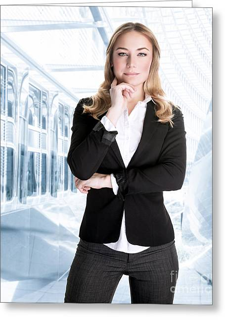 Business Women Greeting Cards - Successful business woman Greeting Card by Anna Omelchenko
