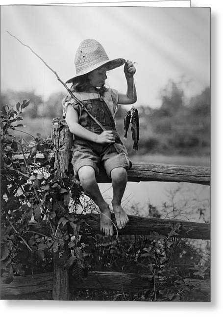 Tomboy Greeting Cards - SUCCESSFUL DAY of FISHING  1919 Greeting Card by Daniel Hagerman