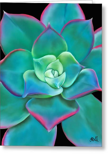 Plant Pastels Greeting Cards - Succulent Aeonium Kiwi Greeting Card by Laura Bell