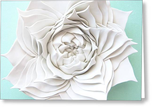 White Ceramics Greeting Cards - Succulent Plant Wall Sculpture - Spiral Aloe Greeting Card by Lenka Kasprisin