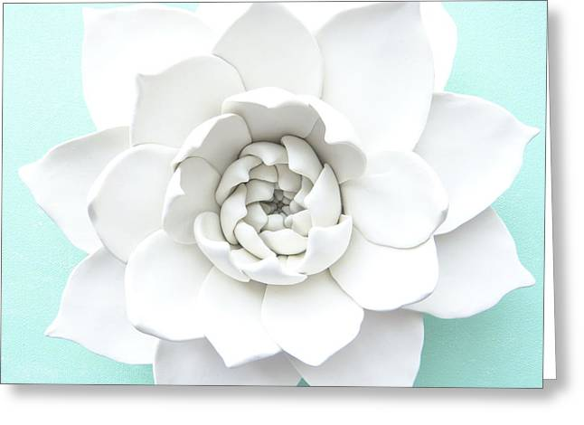 White Ceramics Greeting Cards - Succulent Plant Wall Sculpture - Spiral Hens and Chicks Greeting Card by Lenka Kasprisin