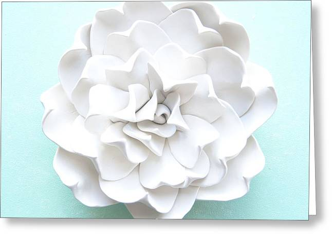 White Ceramics Greeting Cards - Succulent Plant Wall Sculpture - Topsy Turvy Greeting Card by Lenka Kasprisin