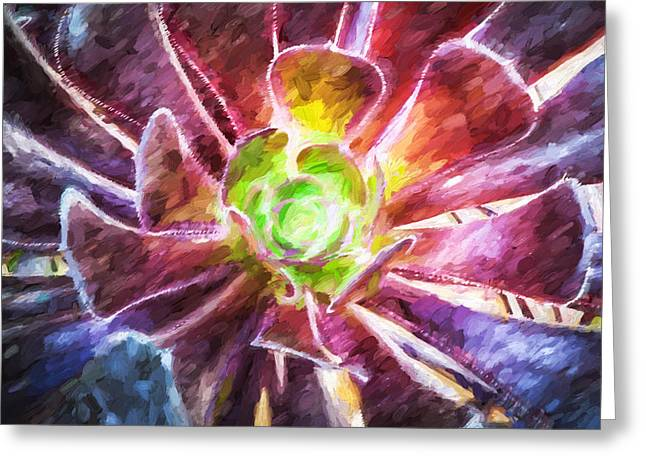 Sempervivum Greeting Cards - Succulent Purple Aeonium Leaves Painted Greeting Card by Rich Franco