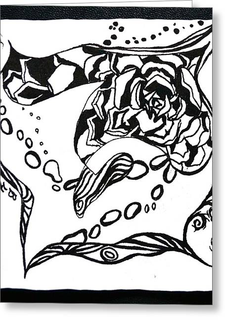 Chi Drawings Greeting Cards - Succulent Stream of Consciousness Greeting Card by Beverley Harper Tinsley