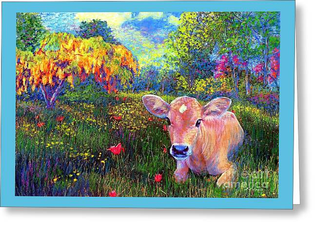 Such A Contented Cow Greeting Card by Jane Small
