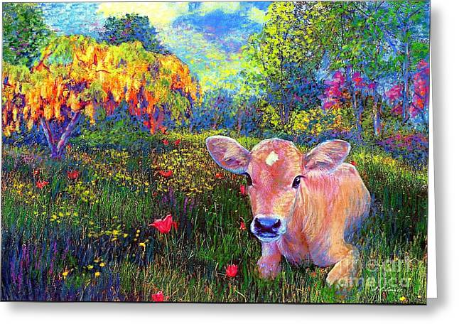 Yellow Brown Greeting Cards - Such a Contented Cow Greeting Card by Jane Small