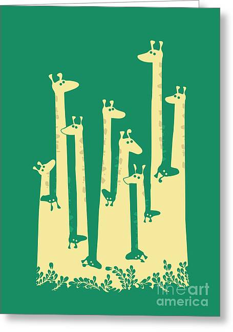 Giraffe Greeting Cards - Such a great height Greeting Card by Budi Kwan