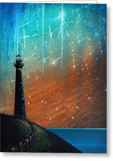 Coastal Lighthouses Greeting Cards - Such A Night As This Greeting Card by Cindy Thornton