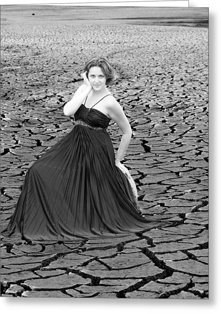 Dry Lake Greeting Cards - An image of elegance black and white Greeting Card by Teri Schuster