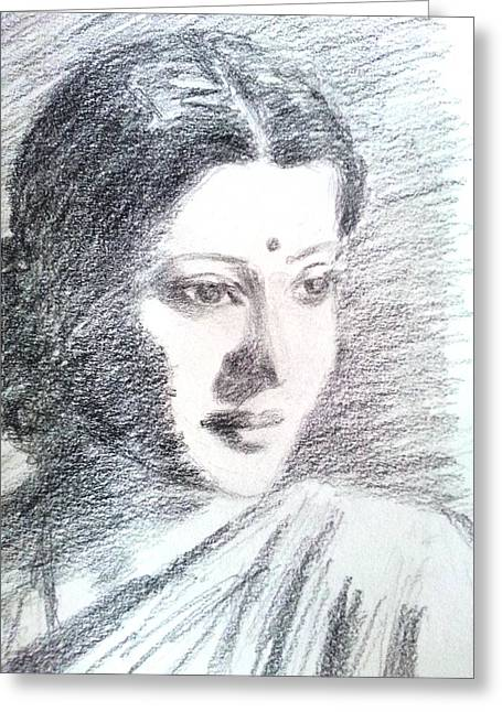 Indian Actor Greeting Cards - Suchitra Sen Greeting Card by Uma Krishnamoorthy