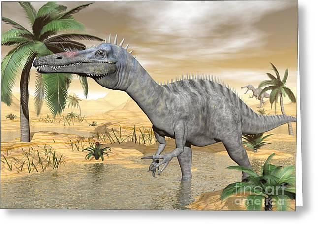 Stream Digital Art Greeting Cards - Suchomimus Dinosaur Walking Greeting Card by Elena Duvernay